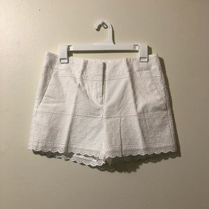 LOFT White Crochet Shorts